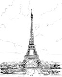 France. Paris. Eiffel Tower hand drawn sketch. Vector illustration.