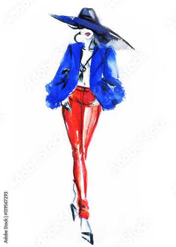 Runway. Fashion illustration. Watercolor painting