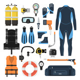 Equipment for scuba diving in a flat style - 139568608