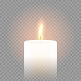 Candle flame burning 3D realistic vector transparent background - 139569452