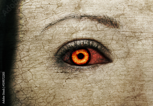 Evil bloody female zombie eyes Poster
