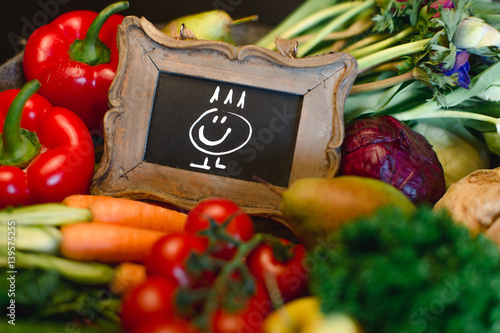 Markteinkauf Gemüse und Obst mit Tafel Poster