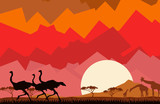 Illustration of the African savannah with the giraffes, zebras and ostriches on an abstract background of the sky