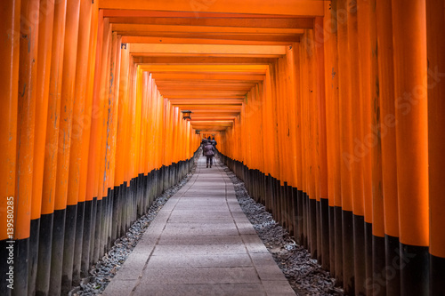 Fotobehang Kyoto Fushimi Inari Shrine in Kyoto, Japan.It is famous for its thousands of vermilion torii gates.