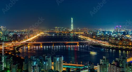 Fotobehang Seoel Cityscape of Hangang bridge in korea