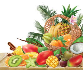 Basket with tropical fruits on a wooden table