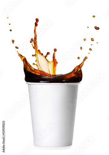 coffee splash from a paper cup Poster