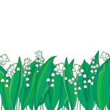 Vector border with outline white Lily of the valley or Convallaria flower and green leaves isolated. Ornate floral element for spring design or greeting card. Border with May lily in contour style.