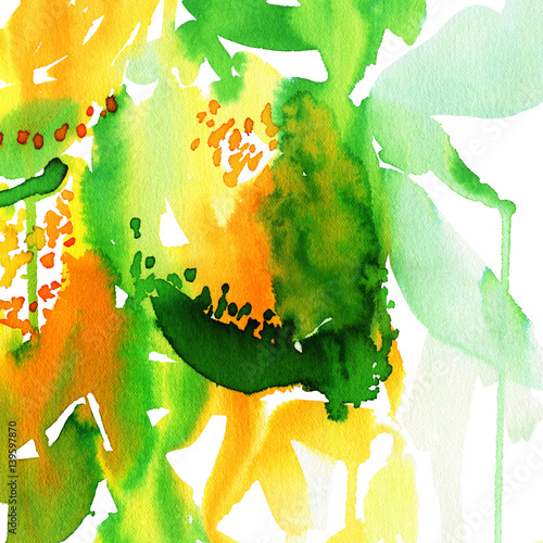Abstract watercolor background to create a greeting card with lemons. - 139597870