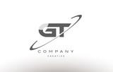 gt g t  swoosh grey alphabet letter logo