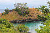 Lagoa Azul ( Blue Lake) a beautiful beach with baobab and a lighthouse up the cliff in Sao Tome and Principe - Africa