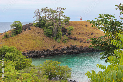 Aluminium Baobab Lagoa Azul ( Blue Lake) a beautiful beach with baobab and a lighthouse up the cliff in Sao Tome and Principe - Africa