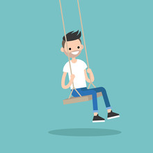 Young Bearded Man Sitting On The Swing  Editable Flat  Illustration Sticker