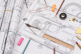 Workplace - technical project drawing with engineering tools. Construction background. - 139623630