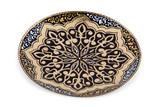 Vintage souvenir ceramic plate on white background