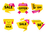 Special offer sale tag discount symbol retail sticker sign price set isolated on white background, modern graphic style vector illustration. Big sale with wow offer badge set - 139641098