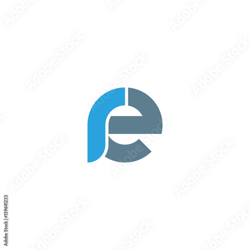 Initial letter re modern linked circle round lowercase logo blue gray