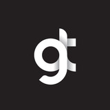 Initial lowercase letter gt, linked circle rounded logo with shadow gradient, white color on black background