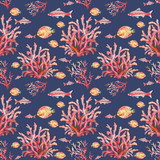 Watercolor nautical seamless pattern. Hand painted underwater texture with fishes and corals on dark blue background. Sea wallpaper design