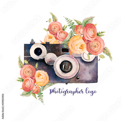 Watercolor photographer logo. Vintage photo camera with bouquets of flowers, branches and fern. Hand painted isolated design. Watercolor illustration - 139653056