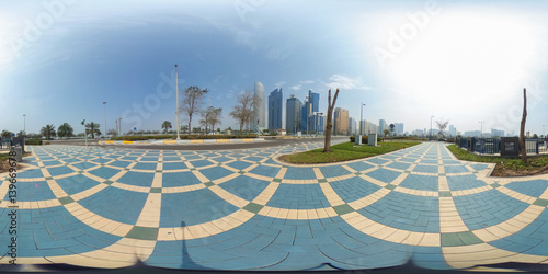 Fotobehang Abu Dhabi 360 degrees spherical panorama of the abu dhabi (UAE) corniche with view of the skyline an blue water