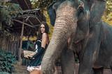 Brunette elephant trainer feeding her pet
