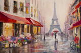 Fototapety Original oil painting on canvas - Paris - Eiffel Tower - A pair of lovers under an umbrella - Modern Art