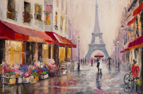 Sticker Original oil painting on canvas - Paris - Eiffel Tower - A pair of lovers under an umbrella - Modern Art