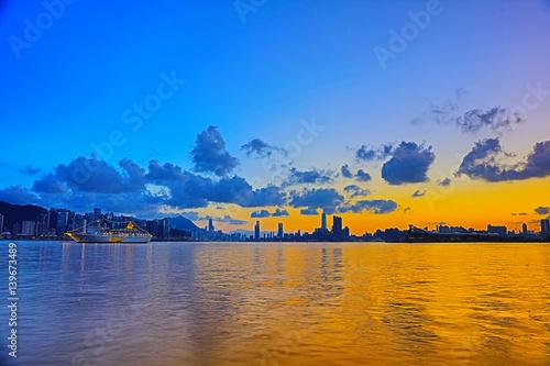Hong Kong city sunset  from kwun tong Poster