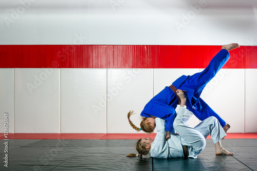 Two women fight judo on tatami Poster