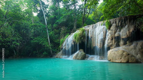 Fototapeta Green nature with green waterfall landscape, Erawan waterfall located Khanchanaburi Province, Thailand