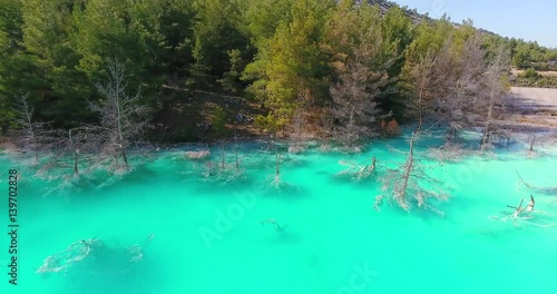 Turquoise Lake Aerial Footage in Turkey