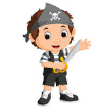 Kid Boy Pirate Cartoon Wall Sticker