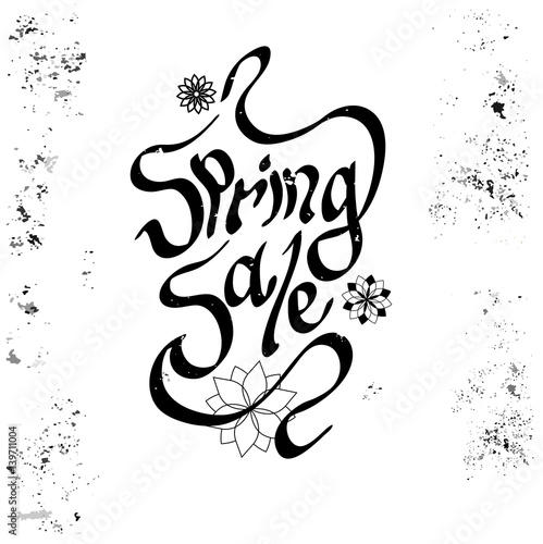 Aluminium Positive Typography Hand written phrase isolated. Spring Sale lettering in modern calligraphy style.