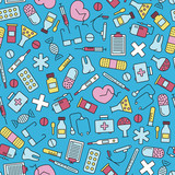 seamless pattern with medical design elements