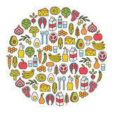 set of minimalistic healthy food icons - 139719027