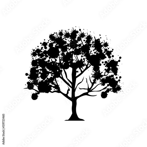 contour trees with some leaves icon, vector illustraction design