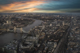 London aerial view at sunset.