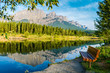Landscape, Rockies, Canada Canmore Alberta, Quarry Lake, Reflection of Mount Rundle.