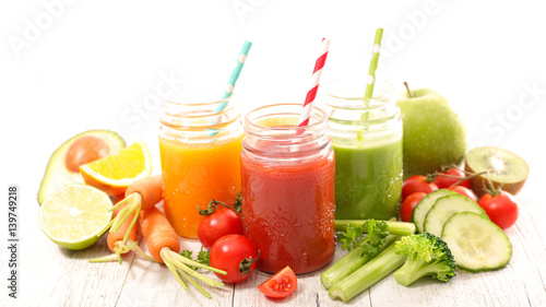 fresh juice or smoothie with fruits and vegetables