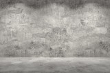 Empty wall. Concrete wall and floor with lights / empty space for your design. Digital generating image. - 139749410