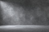 Empty wall. Rough concrete wall and floor with lights / empty space for your design. Digital generating image. - 139749417