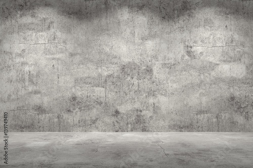 Poster Betonbehang Empty wall. Concrete wall and floor with lights / empty space for your design. Digital generating image.