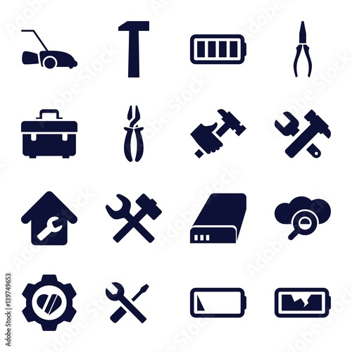 Set of 16 maintenance filled icons