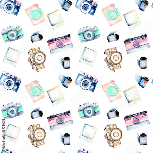 Seamless pattern with watercolor retro cameras, snapshots and films, hand drawn isolated on a white background - 139750058