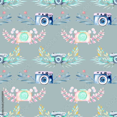 Seamless pattern with watercolor retro cameras in floral decor, hand drawn isolated on a blue background - 139750801
