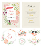 Fototapety Hand drawing wedding typographic cards with birds, flowers, branches and floral wreath. Save the Date and Menu design. Vector illustration.