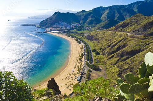 Deurstickers Canarische Eilanden View from the mountain to the beach teresitas