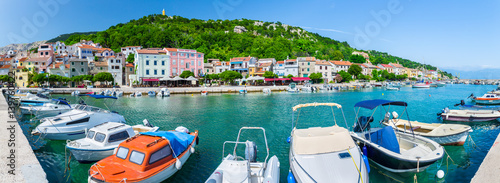Aluminium Wonderful romantic summer afternoon landscape panorama coastline Adriatic sea. Boats and yachts in harbor at cristal clear turquoise water. Baska on the island of Krk. Croatia. Europe.