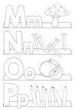 Alphabet coloring page - letters m, n, o, p
